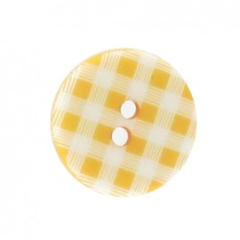 Button, gingham - yellow