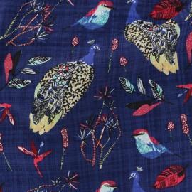 Tissu voile de coton Paon - bleu x 20 cm