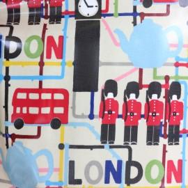 Tissu coton enduit London - beige x 33cm