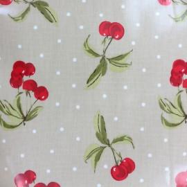 Tissu coton enduit Cherry bomb - taupe  x 10cm