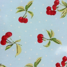 Oilcloth fabric Cherry bomb - sky blue x 10cm