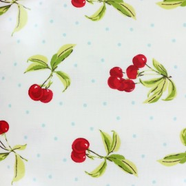 Oilcloth fabric Cherry bomb - white x 10cm