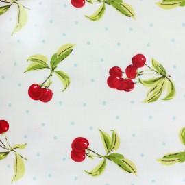 Tissu coton enduit Cherry bomb - blanc x 10cm