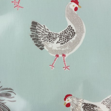 Oilcloth fabric Rooster duckegg - seagreen x 50cm