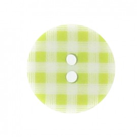 Button, gingham - green