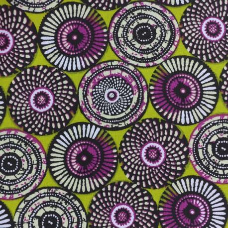 Cretonne cotton Fabric Soweto - green x 10cm