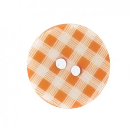 Button, gingham - orange