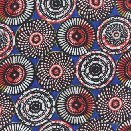 Cretonne cotton Fabric Soweto - blue x 10cm