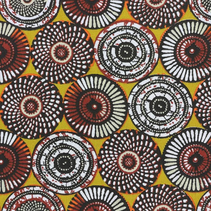 Tissu coton cretonne soweto jaune x 10cm - Peinture pour tissus d ameublement ...