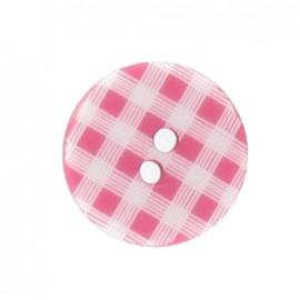 Button, gingham - fuchsia