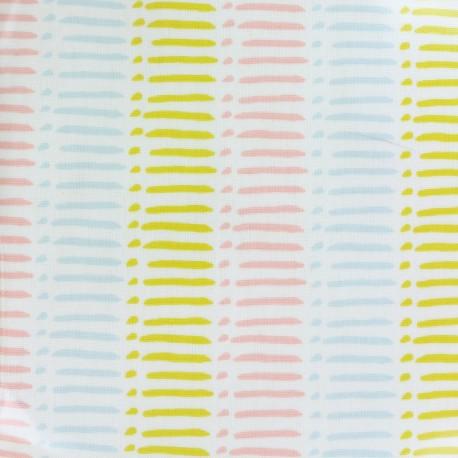 Oilcloth fabric Dash sorbet - white x 10cm