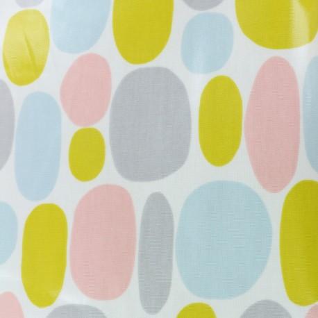 Tissu toile cirée Buble sorbet - blanc x 10cm