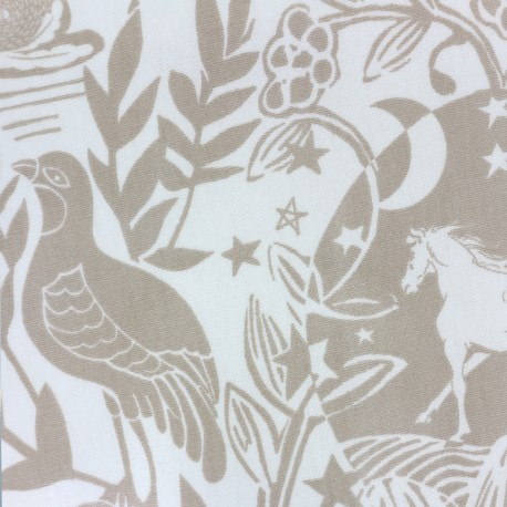 Oilcloth fabric Westonbirt - white/taupe x 50cm