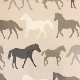 Oilcloth fabric Chevaux - taupe