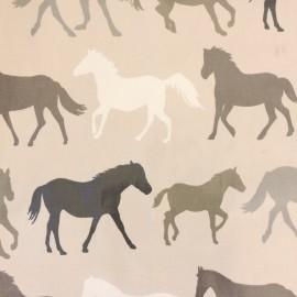 Tissu toile cirée Chevaux - taupe x 33cm