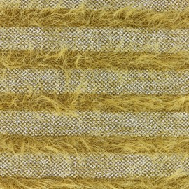 Striped long-haired knitted fabric - yellow x 10cm
