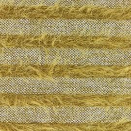Tissu Maille rayures à poil long - jaune x 10cm