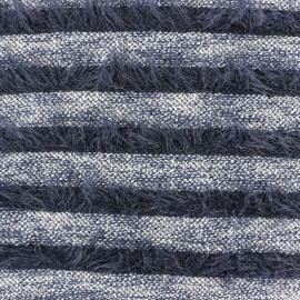 Striped long-haired knitted fabric - navy blue x 10cm