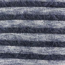 Tissu Maille rayures à poil long - bleu marine x 10cm