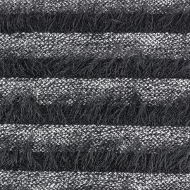 Striped long-haired knitted fabric - black x 10cm