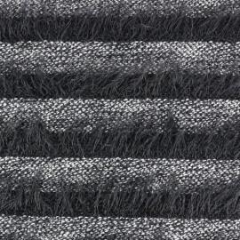 Tissu Maille rayures à poil long - noir x 10cm