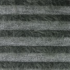 Striped long-haired knitted fabric - green x 10cm