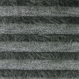 Tissu Maille rayures à poil long - kaki x 10cm