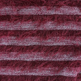 Striped long-haired knitted fabric - red x 10cm