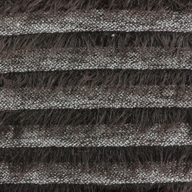Striped long-haired knitted fabric - brown x 10cm
