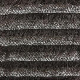 Tissu Maille rayures à poil long - marron x 10cm