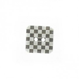 Metal aspect button, checked pattern - silver