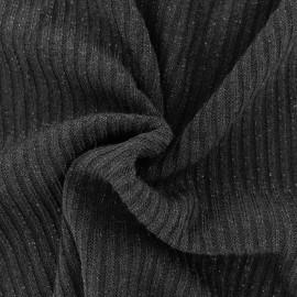 Tissu jersey maille côtelé Lurex - noir x 10cm