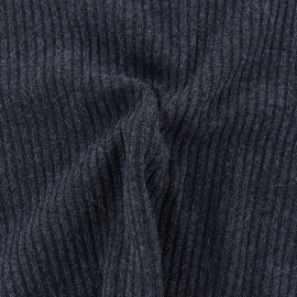 Jersey lurex ribbed knitted fabric - navy blue x 10cm
