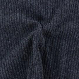 Tissu jersey maille côtelé Lurex - bleu marine x 10cm