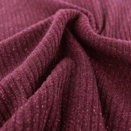Tissu jersey maille côtelé Lurex - rouge bordeaux x 10cm