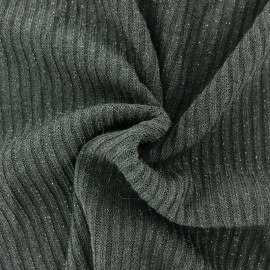 Jersey lurex ribbed knitted fabric - green x 10cm