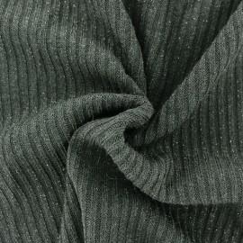 Tissu jersey maille côtelé Lurex - kaki x 10cm