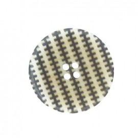 Round-shaped button, stripped - off-white/black