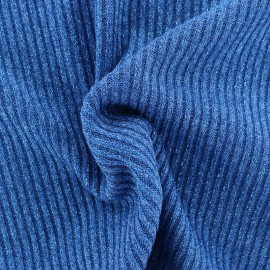 Jersey lurex ribbed knitted fabric - blue x 10cm