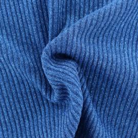 Tissu jersey maille côtelé Lurex - bleu x 10cm