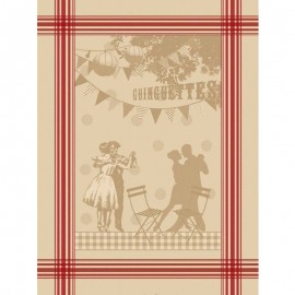 French Tea towel Guinguette - Linen/red stripes