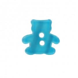 Bouton polyester Ourson aspect nacré turquoise