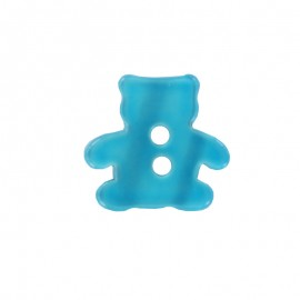 Polyester button, pearly aspect Teddy bear - turquoise