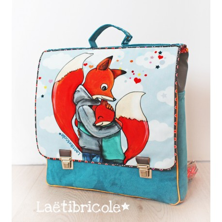 Fabric remnant for schoolbag by Laëtibricole - fox father and son