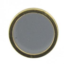Button, enamelled - grey/golden