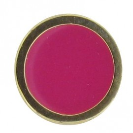 Button, enamelled - fuchsia/golden