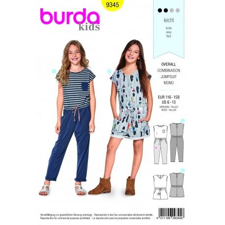 Patron Burda Combinaison – coulisse à ruban dans la taille –  poches à fentes latérales Burda N°9345