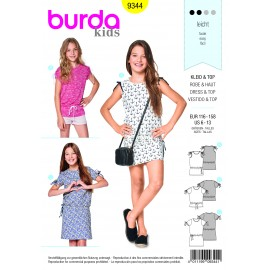 Burda sewing pattern Dress – Top – Shoulder Gathering – Gathered Sleeves Burda N°9344