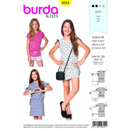 Patron Burda Robe – top – épaules froncées –manches froncées Burda N°9344