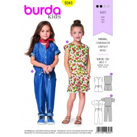 Sewing pattern Jumpsuit – Drawstring Casing at the Dropped Waist – Upper Button Fastening Burda N°9343